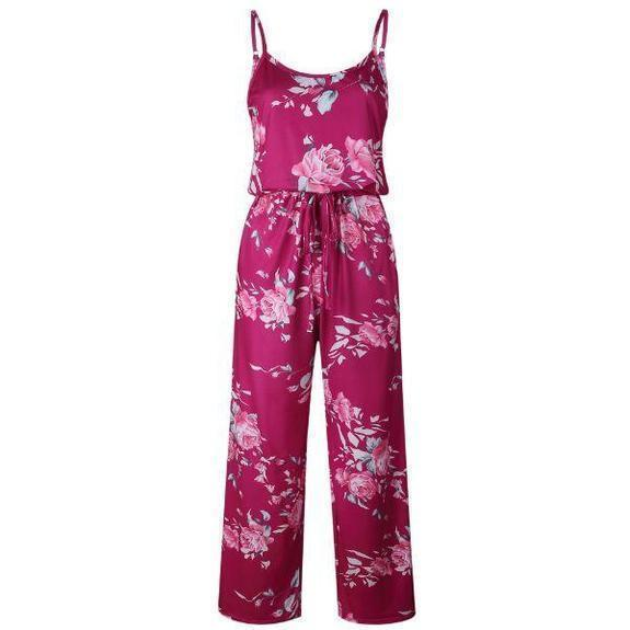 Daily Steals-Floral Pant Romper-Women's Apparel-Burgundy-2X-
