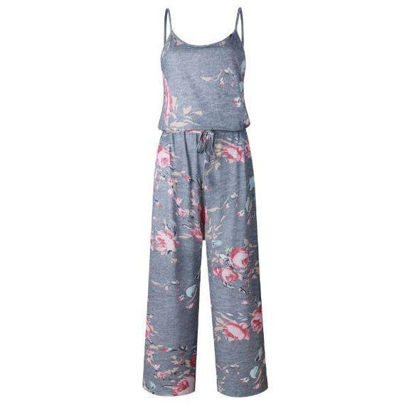 Daily Steals-Floral Pant Romper-Women's Apparel-Grey-2X-