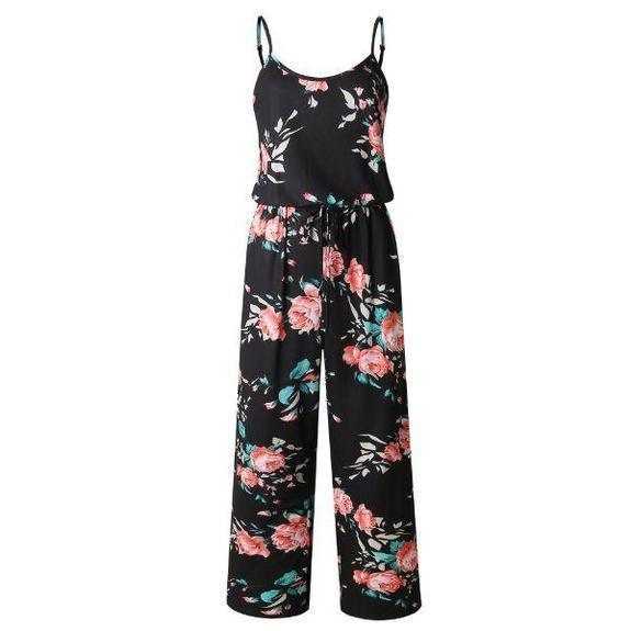 Daily Steals-Floral Pant Romper-Women's Apparel-Red-2X-