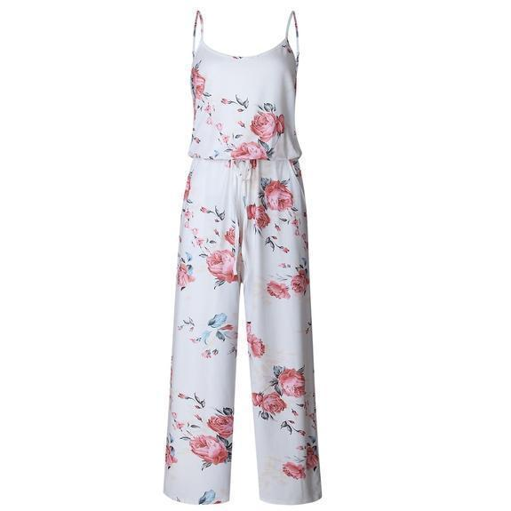 Daily Steals-Floral Pant Romper-Women's Apparel-White-Small-