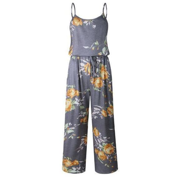 Daily Steals-Floral Pant Romper-Women's Apparel-Yellow-2X-