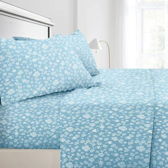 Floral Design 4 Piece Bed Sheet Set-Blue-Twin-Daily Steals