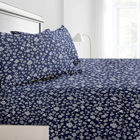 Floral Design 4 Piece Bed Sheet Set-Navy Blue-Full-Daily Steals