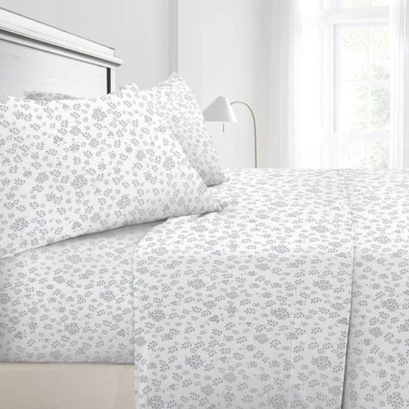 Floral Design 4 Piece Bed Sheet Set-White Grey-Twin-Daily Steals