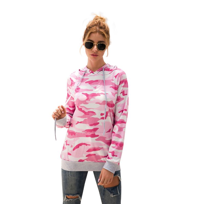 Floral and Camouflage Hoodie Shirt-Pink-2XL-Daily Steals