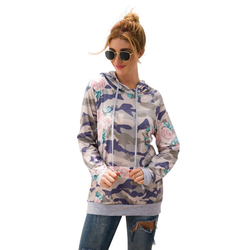Floral and Camouflage Hoodie Shirt-Beige-2XL-Daily Steals