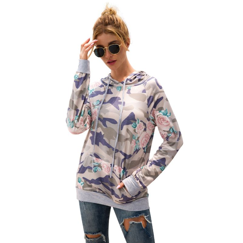 Floral and Camouflage Hoodie Shirt-Daily Steals