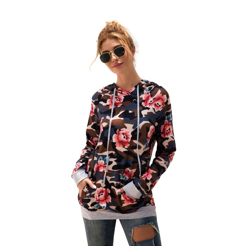 Floral and Camouflage Hoodie Shirt-Black-S-Daily Steals