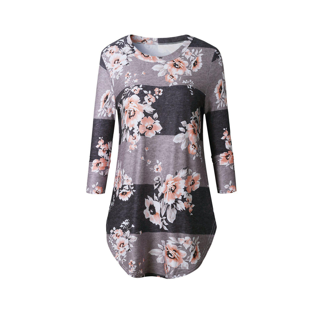 Curved Floral Shirt-Daily Steals