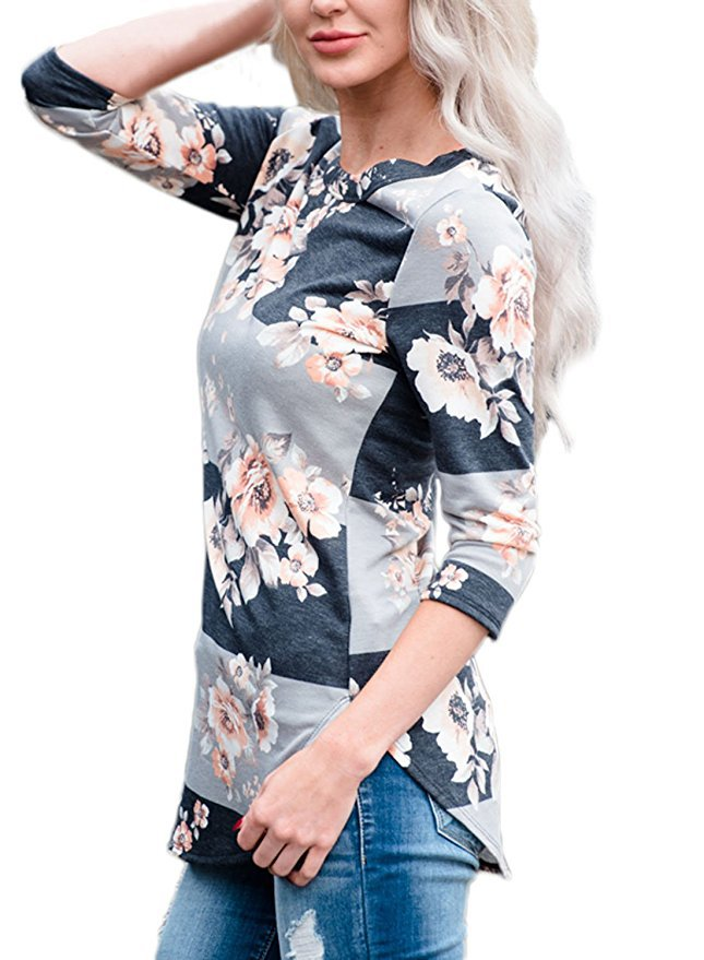 Curved Floral Shirt-White-Large-Daily Steals