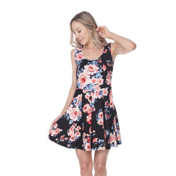 Daily Steals-Flower Print Crystal Dress-Women's Apparel-Black-S-