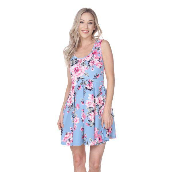 Daily Steals-Flower Print Crystal Dress-Women's Apparel-Light Blue-S-