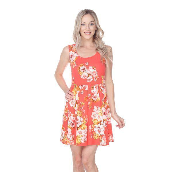 Daily Steals-Flower Print Crystal Dress-Women's Apparel-Orange-S-