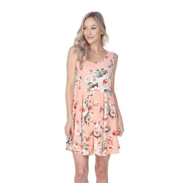 Daily Steals-Flower Print Crystal Dress-Women's Apparel-Peach-S-