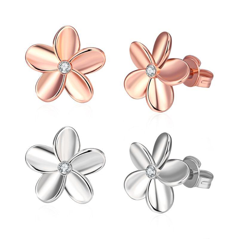 Flower Stud Earrings with Crystals In 18k White Gold Filled - 2 Pack-Daily Steals