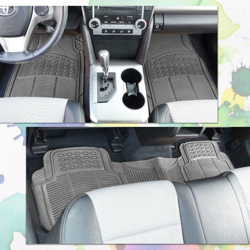 All Weather Rubber Semi Pattern Car Interior Floor Mat - 3 Piece Set-Daily Steals