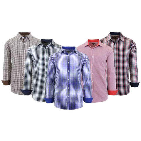 Daily Steals-Mens Long Sleeve Gingham & Checkered Dress Shirts-Men's Apparel-Gold/Blue-Medium-