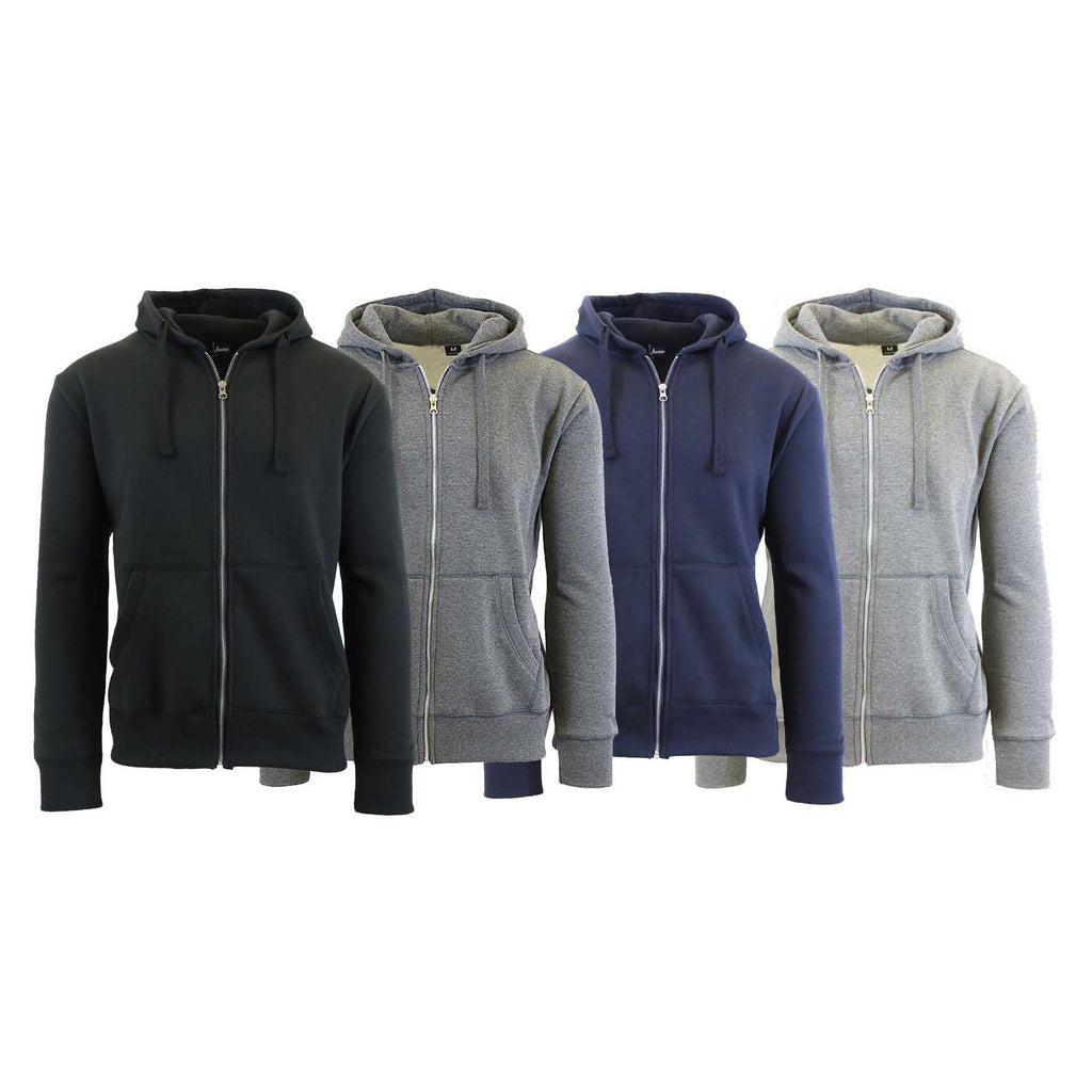 Mens Fleece Hoodie with Thermal-Lined Hood - 2 Pack-Daily Steals