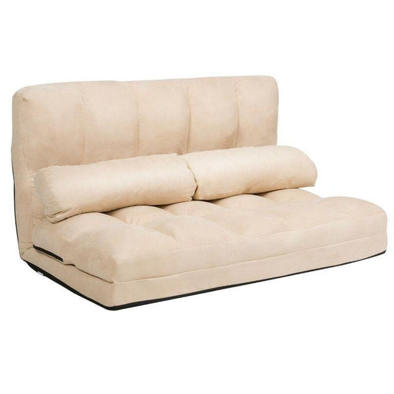 Foldable Beige 6-Position Floor Adjustable Lounge Couch-Beige-