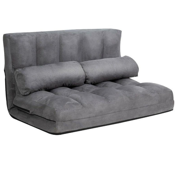 Foldable Beige 6-Position Floor Adjustable Lounge Couch-Grey-