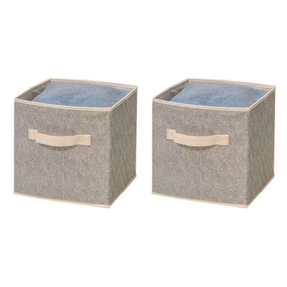 Foldable Storage Bins-Beige-2 Pack-