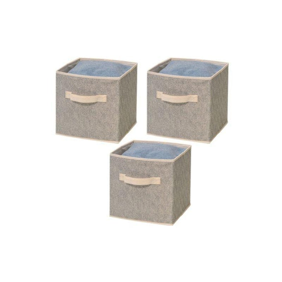 Foldable Storage Bins-Beige-3 Pack-