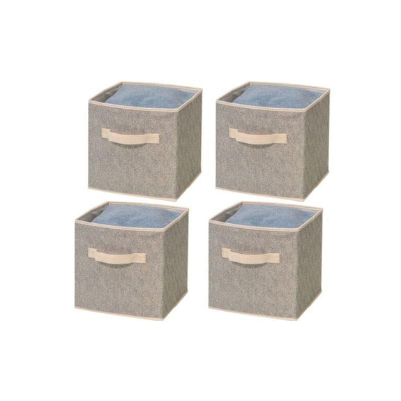 Foldable Storage Bins-Beige-4 Pack-