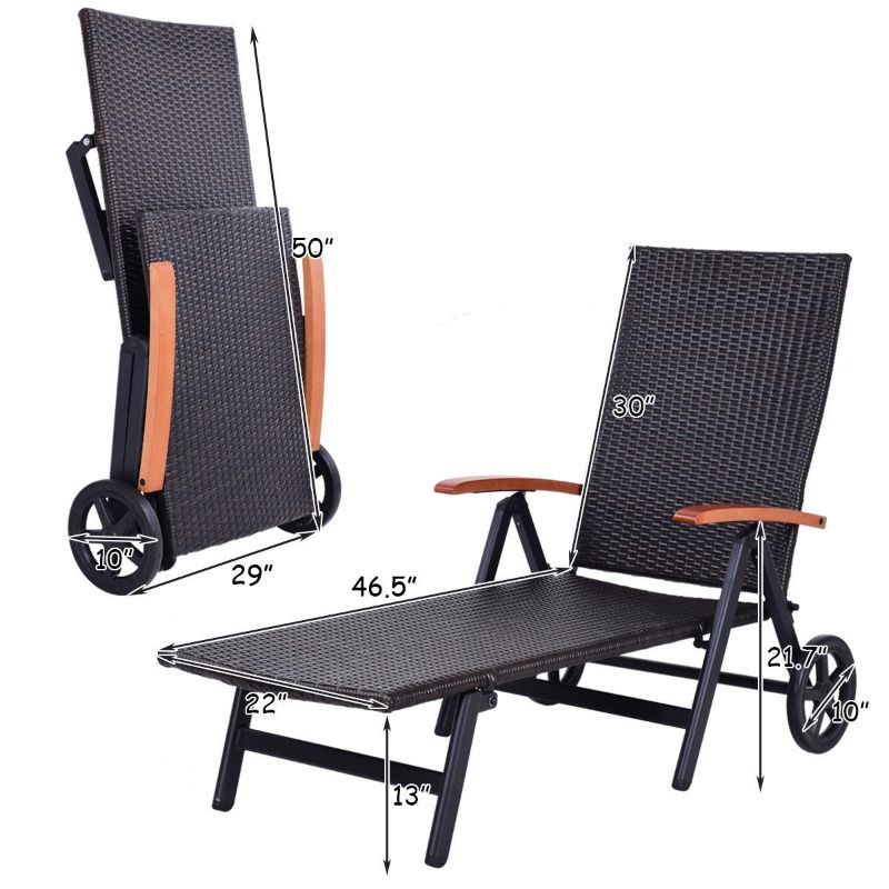 Folding Back Adjustable Aluminum Rattan Recliner Lounger w/ Wheels-Daily Steals