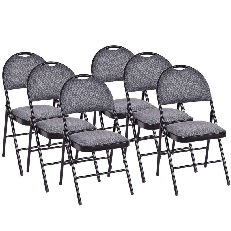 Folding Fabric Upholstered Metal Chairs - Set of 6