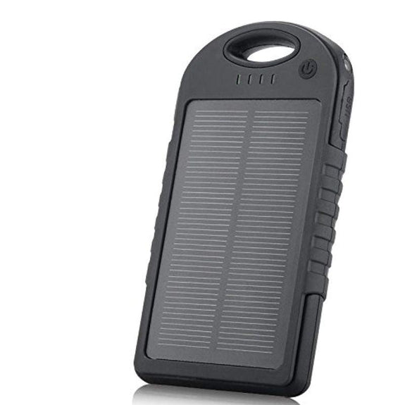 5,000mAh Water-Resistant Solar Smartphone Charger-Black-Daily Steals