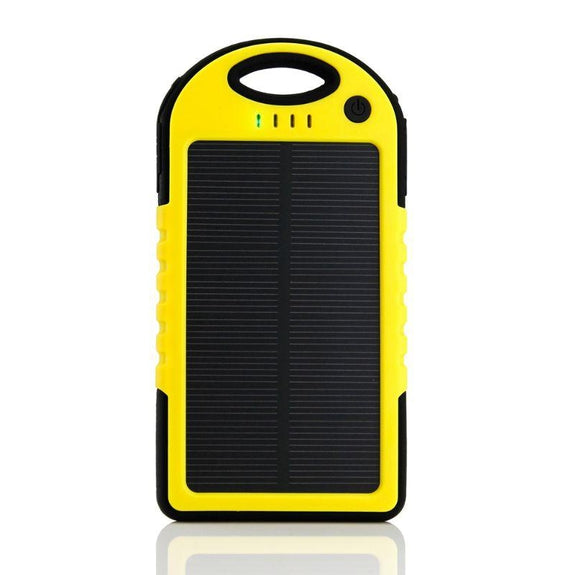 5,000mAh Water-Resistant Solar Smartphone Charger-Yellow-Daily Steals