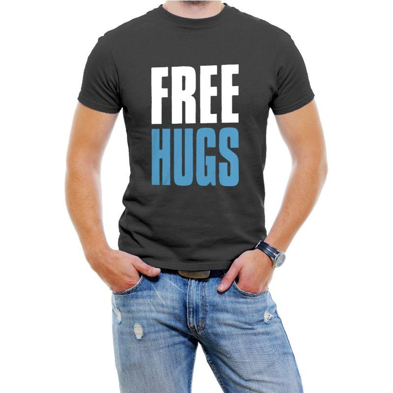 """Free Hugs"" Hilarious Men's T-Shirts-Black-4XL-Daily Steals"