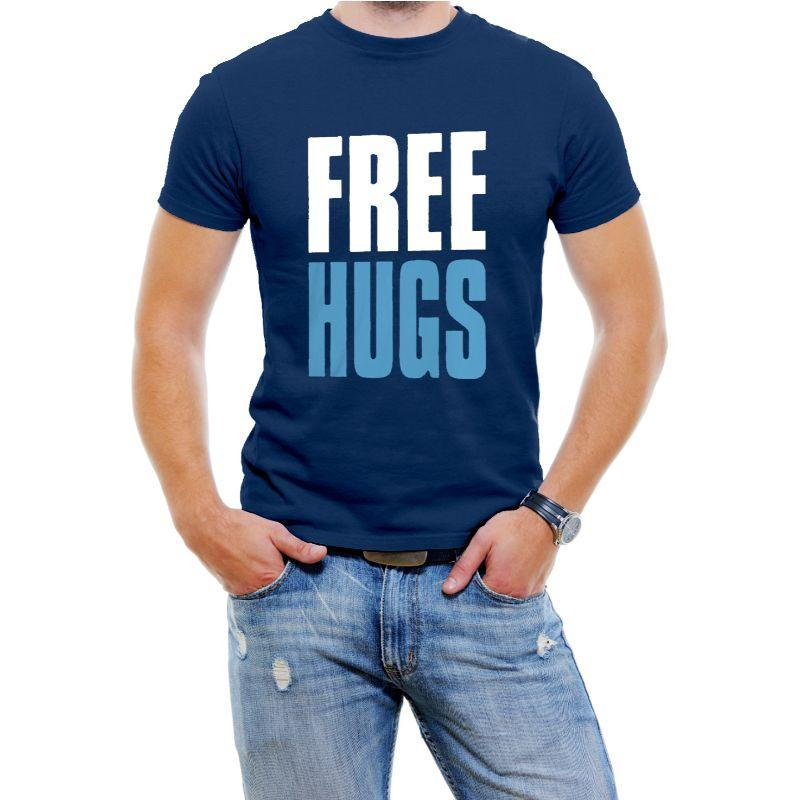 """Free Hugs"" Hilarious Men's T-Shirts-Blue-4XL-Daily Steals"