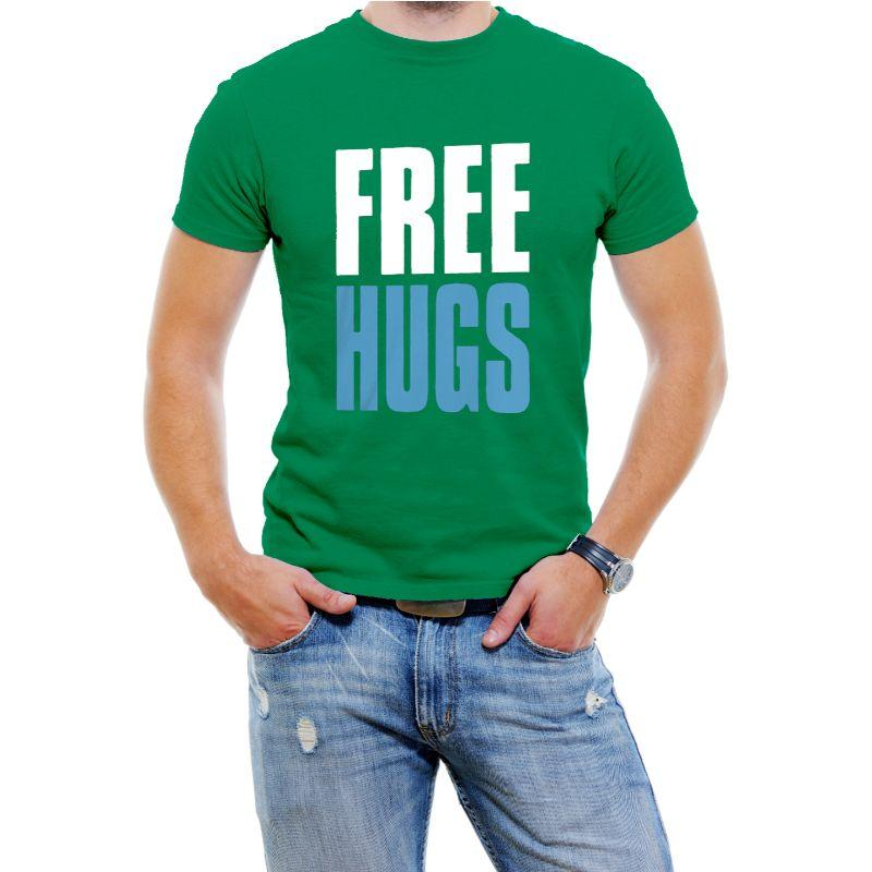 """Free Hugs"" Hilarious Men's T-Shirts-Green-4XL-Daily Steals"