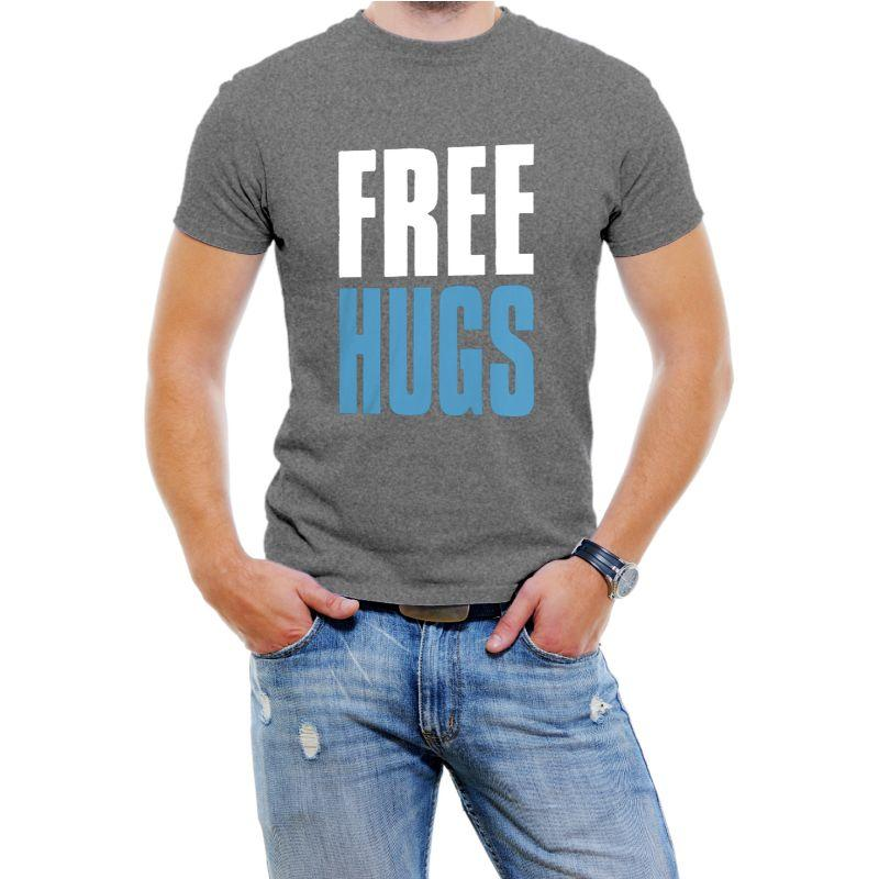 """Free Hugs"" Hilarious Men's T-Shirts-Grey-4XL-Daily Steals"