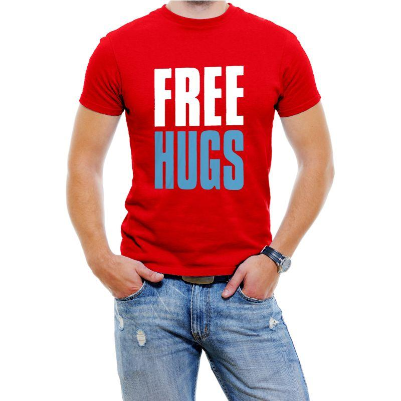 """Free Hugs"" Hilarious Men's T-Shirts-Red-4XL-Daily Steals"
