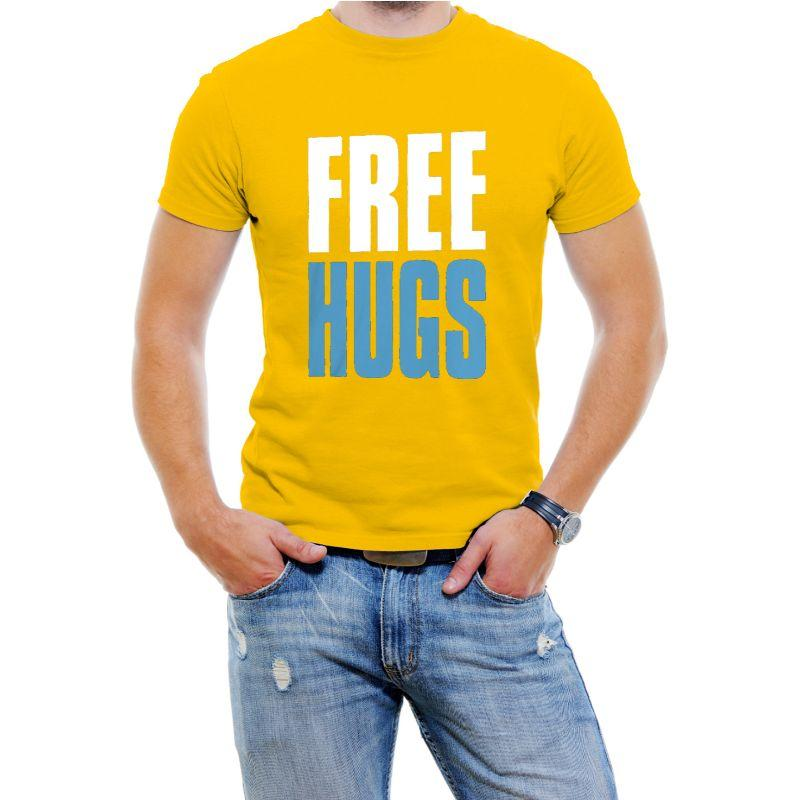 """Free Hugs"" Hilarious Men's T-Shirts-Yellow-4XL-Daily Steals"