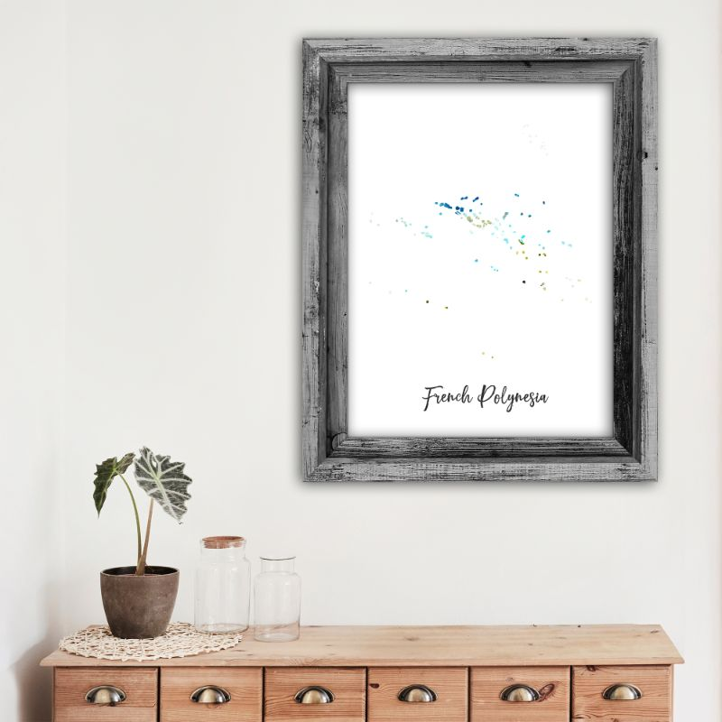 "French Polynesia Watercolor Map Print - Unframed Art Print-12""x18""-Vertical/Portrait-Daily Steals"