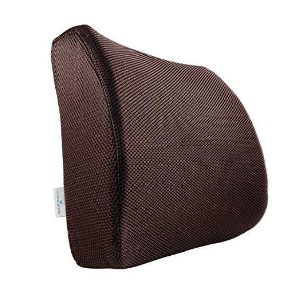 PharMeDoc Lumbar Support Pillow - Adjustable Memory Foam Seat Cushion-Brown-Daily Steals