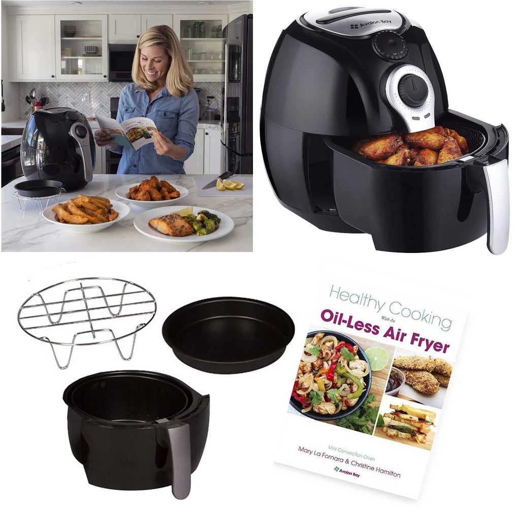 Avalon Bay Air Fryer 3.7 Quart Capacity, Airfryer Baking Set & Recipe Book-Daily Steals