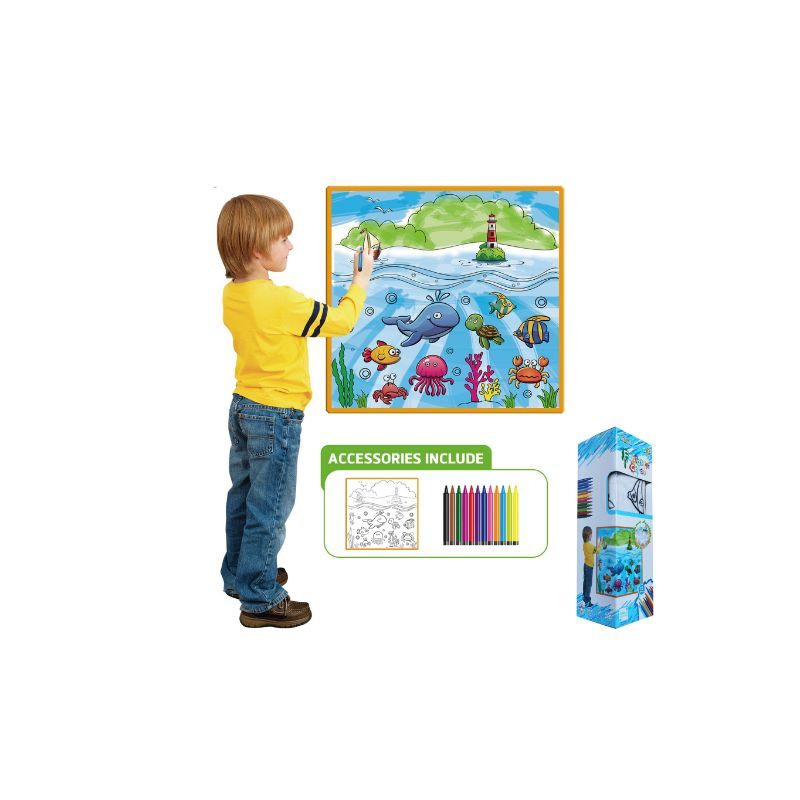 Kids Washable Coloring Play Mat with 12 Washable Markers-Sea Life-Daily Steals