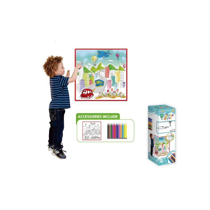 Kids Washable Coloring Play Mat with 12 Washable Markers-City Life-Daily Steals