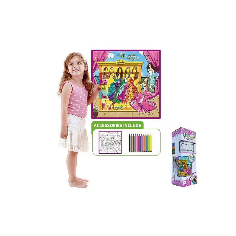 Kids Washable Coloring Play Mat with 12 Washable Markers-Girl's World-Daily Steals