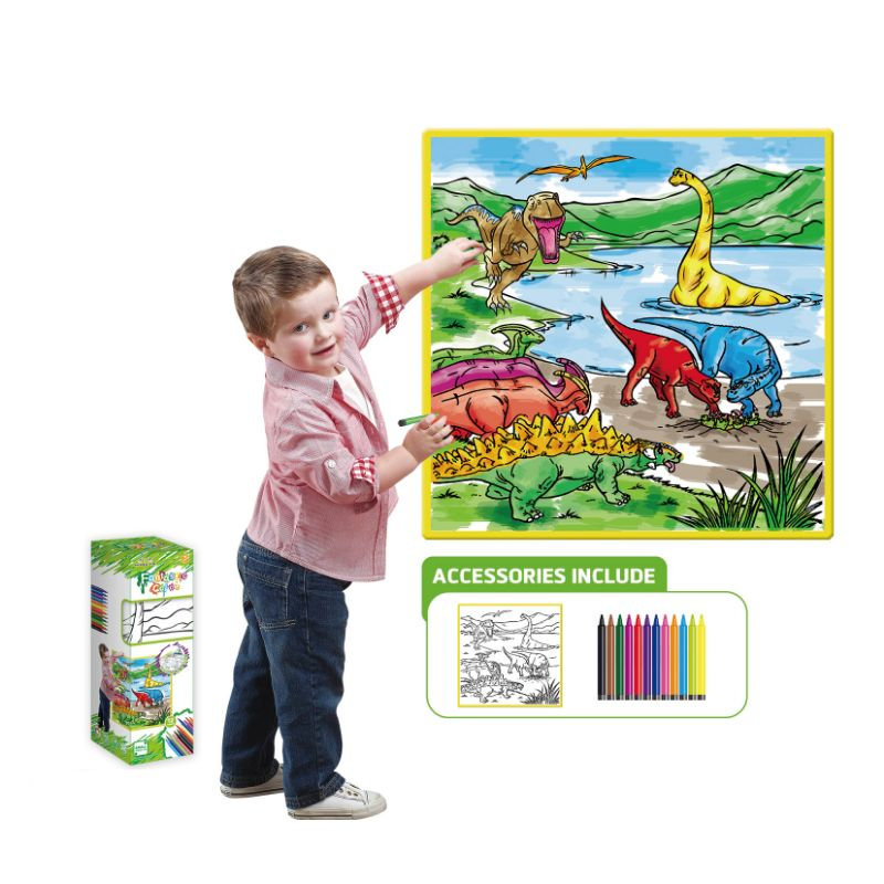 Kids Washable Coloring Play Mat with 12 Washable Markers-Dinosaur-Daily Steals