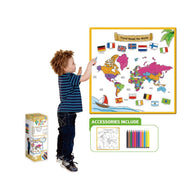 Kids Washable Coloring Play Mat with 12 Washable Markers-World Map - Atlas-Daily Steals