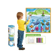 Kids Washable Coloring Play Mat with 12 Washable Markers-Sea life (Large Canvas)-Daily Steals