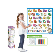 Kids Washable Coloring Play Mat with 12 Washable Markers-Alphabet & Number (Large Canvas)-Daily Steals