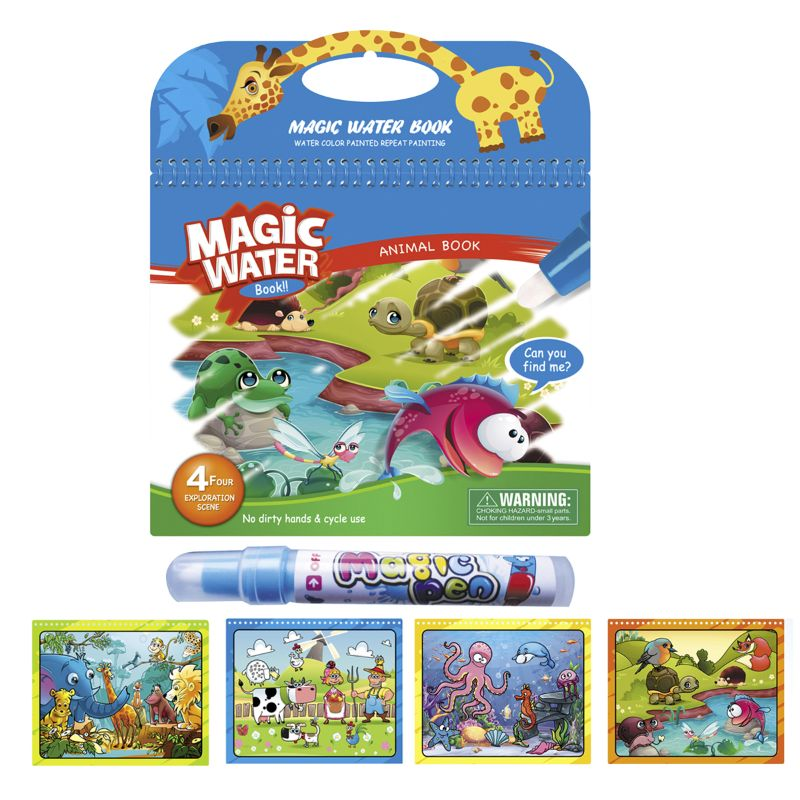 Magic Water Washable Coloring Books with Water Markers - 3 Pack-Daily Steals