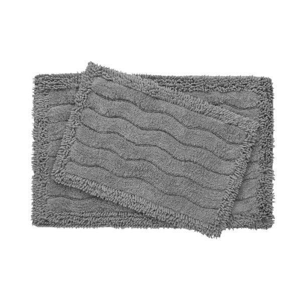 2-Piece Swirl Collection 100% Cotton Bath Rug Set-Grey-Daily Steals