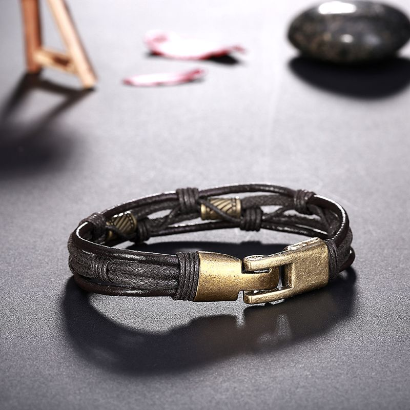 Genuine Leather Bracelet Plated in 18K White Gold-Daily Steals